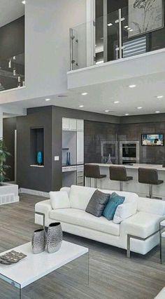 A Litle Touch Of Blue ! Modern Interior Design, Interior Design Inspiration, Modern House Design, Design Ideas, High Ceiling Living Room, Living Room Modern, Living Room Designs, Living Room Decor, House Goals
