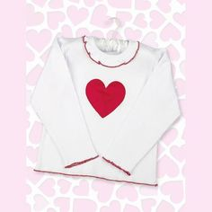 Bearington Lil Love Long Sleeve Tee. Long sleeved white tee with heart appliquandeacute and red trim for little girls. See More Tops and Shirts at http://www.ourgreatshop.com/Tops-Shirts-C231.aspx