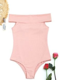 Ribbed Off Shoulder One-piece Swimwear Casual Outfits, Cute Outfits, Fashion Outfits, Trendy Fashion, One Piece Swimwear, One Piece Swimsuit, Cute Swimsuits, Teenager Outfits, Bra Styles
