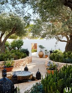 "The Mediterranean garden of designer Daniel Romualdez's Ibizan home embodies the casual yet polished vibe of the surrounding landscape. Devised by landscape designer the courtyard is Romualdez's favorite ""room"" in the house. Explore the full house Outdoor Rooms, Outdoor Living, Outdoor Decor, Indoor Outdoor, Outdoor Patios, Outdoor Kitchens, Back Gardens, Outdoor Gardens, Small Courtyard Gardens"