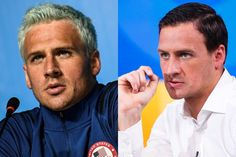 Left, Ryan Lochte at a press conference in Rio during the Olympic Games early in August; Right, Lochte filmed giving a formal apology on Good Morning America at the end of the same month.