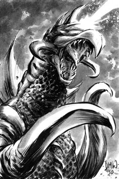 In addition to his melee weapons, Showa era Gigan was depicted as having an beam aperture set into his forehead just above his visor. Official art would frequently depict him as firing a laser from this device although he was never shown to actually do so on film (possibly a result of budget limits/cutbacks and/or lack of time; the illustrations could also have been done for effect). Cool Monsters, Classic Monsters, Showa Era, Godzilla Vs, King Kong, Nerd Stuff, Dinosaurs, Awesome Stuff, Goku