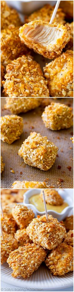 These Pretzel Crusted Chicken Bites are baked, not fried. Tender on the inside, crunchy on the outside - the whole family will love them!
