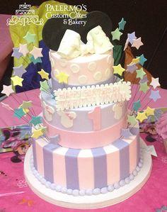 Custom Birthday Cake. Pretty in pastels cake.   Palermo's Bakery creates custom cakes, wedding cakes, birthday cakes, graduation cakes, cake pops, cupcakes, cookies, custom dessert tables and serves the New Jersey/New York Area