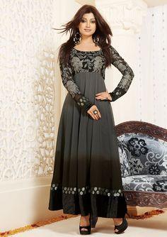 Georgette Machine Work Grey & Brown Semi Stitched Anarkali Suit - 1071