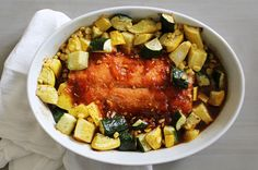 Ayesha Curry's Apricot Glazed Salmon with Summer Squash and Zucchini - 381 calories per serving / 2 servings