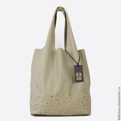 Купить Сумка-мешок из кожи КРС с заклепками - Кожаная сумка, сумка из натуральной кожи