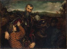 Title: Portrait of a Man in Armor with Two Pages Artist: Paris Bordon (Italian, Treviso Venice) Medium: Oil on canvas Dimensions: 46 x 62 in. x cm) Credit Line: Gift of Mr. Charles Wrightsman, 1973 On view at The Met Fifth Avenue in Gallery 607 Potrait Painting, City Gallery, Italian Painters, Renaissance Art, Renaissance Portraits, Old Master, Western Art, Large Art, Metropolitan Museum