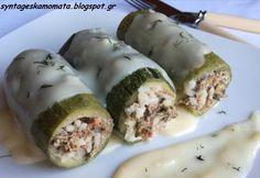 Κολοκυθάκια γεμιστά 3 #sintagespareas My Cookbook, Fresh Rolls, Sushi, Yummy Food, Ethnic Recipes, Kitchens, Delicious Food, Sushi Rolls