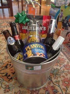 Humorous Beer Drinkers Present Idea for Fathers Retirement. Great retirement gift idea for a Dad that loves to drink beer. This is so easy to achieve. Just buy a metal bucket and add in a few nice bottles of beer. Also add in some savory snacks, the eat with the beer.