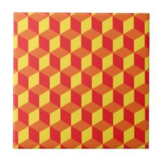 Orange and Yellow 3d Cube Geometric Pattern Small Square Tile