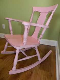 distressed rocking chair Painted Furniture, Furniture Ideas, Furniture Design, Shabby Chic Girl Room, Summer Checklist, Stool Chair, Pink Things, Rocking Chairs, Baby Sleep