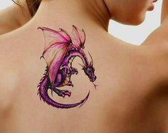 Tatuaje temporal impermeable Ultra delgada realista falsos tatuajes del dragón