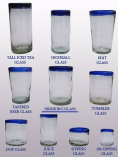 'Cobalt Blue Rim' drinking glasses (set of 6) / handcraft, handcrafted, mexican, blown glass, bubble glass, pitcher, glass blowing, pitcher vase, vase, glass, glasses, glass shot, tequila, margarita glass, martini glass, wine glass, glassware, cobalt blue glass, barware, bar glasses, drink, mexican barware, water glass, home decor