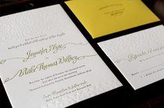 Oh So Beautiful Paper: Jennifer + Blake's Sunny Yellow and Blind Deboss Wedding Invitations