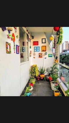 Small Balcony Design, Small Balcony Garden, Small Balcony Decor, India Home Decor, Ethnic Home Decor, House Plants Decor, Plant Decor, Home Decor Furniture, Home Decor Bedroom