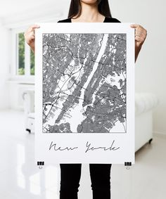 NEW YORK Map Print, Modern City Poster, Black and White Minimal Wall Art for the Home Decor