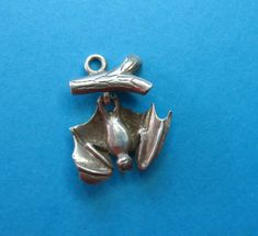 RARE Vintage Silver Articulated Bat Hanging From Branch Charm