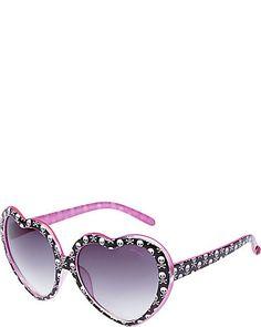 Betsey Johnson Heart sunglasses with skulls