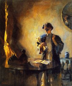 Figure in a Room (1912). Frank Weston Benson (American, 1862-1951). Oil on canvas. New Britain Museum of American Art.
