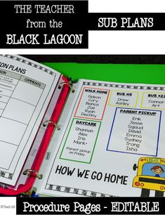 Teacher from the Black Lagoon - Mike Thaler:  lessons about different school staff members of the Black Lagoon plus editable sub plan procedural pages.  $