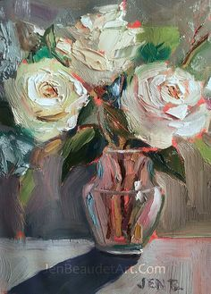 Original Oil Painting contemporary flowers by JBeaudetStudios