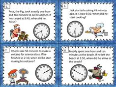 Put some smiles into elapsed time practice! This set of task cards uses short easy-to-read word problems with engaging pictures to make practice fun. Large, easy to read clocks on each task card helps students to figure out each answer. $