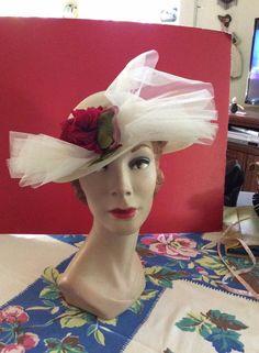 Vintage 1950s Hat White With Tulle Velvet Rose Chapeaux Original by TimelessTreasuresVCB on Etsy