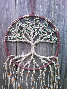 Hemp Tree of Life Dreamcatcher/ Medium / Macrame Wall Hanging / Hoop Art / Gift