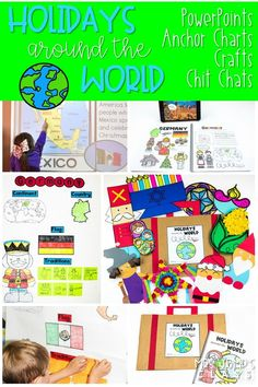Have fun teaching about 10 different holiday celebrations around the world! PowerPoints, anchor charts, writing responses, and crafts! #holidaysaroundtheworld #christmaslessonplans #decemberlessonideas