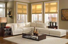 Living Room Beautiful White Fabric Corner Sofa With Rectangle Da