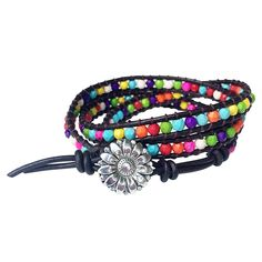 Rainbow Bracelet Beaded Leather Wrap Friendship Jewelry Gifts >>> Continue to the product at the image link.