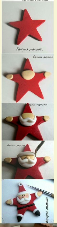 Clay Star Santa Ornament Idea