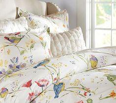 Painterly Bird Duvet Cover & Sham.. Love this light but pretty .. perhaps a tad to feminine