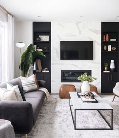 neutral modern living room with marble fireplace, black and white living room decor, Leclair Decor ( Living Room Modern, Home Living Room, Interior Design Living Room, Black Sofa Living Room Decor, Cozy Living, Modern Room Decor, Cool Living Room Ideas, Interior Livingroom, Living Room Decor Accents