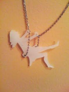 DIY Shrinky Dink Girl On Swing Necklace...make black like shadow