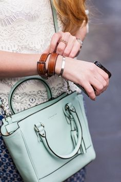 little details: mint coach bag+leather bracelete Coach Handbags, Coach Purses, Purses And Bags, Coach Bags, Vogue, Bcbg, Kids Fashion, Womens Fashion, Fashion Fashion