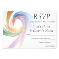 Elegant Swirling Rainbow Wedding RSVP - 1