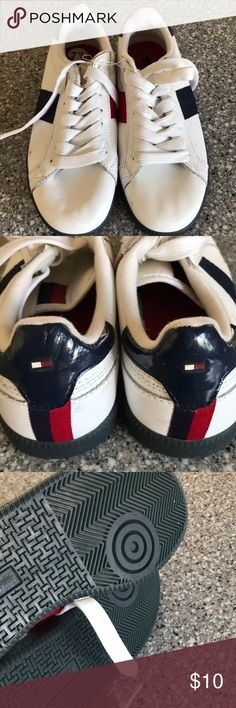 NEW Tommy Hilfiger Sneakers 7.5 Bought these and totally forgot about them. They are brand new but are not perfect. They have impressions from being in storage. Knicks, dirt, scuffs and wrinkles. They are perfectly usable and still nice. They have never been used. Tommy Hilfiger Shoes