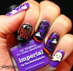 Pinned from NailsofAquarius.com: Casper: HPB October Halloween Mani Link-Up