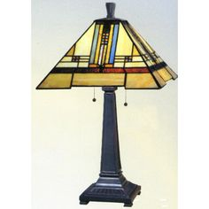 Uneven Bordered Craftsman Design Table Lamp.