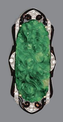 CARVED JADE, DIAMOND AND ENAMEL BROOCH, CIRCA 1925 Composed of an oblong carved and pierced jade plaque within an openwork frame set with single-cut diamonds and applied with black enamel, mounted in platinum and gold. Bijoux Art Deco, Art Deco Earrings, Art Deco Jewelry, Antique Brooches, Antique Jewelry, Vintage Jewelry, Art Nouveau, Jade Jewelry, Handmade Jewelry Designs