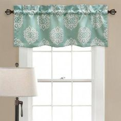 This Blue Sophie Room-Darkening Valence by Lush Décor is perfect! Bathroom Window Curtains, Kitchen Curtains, Blackout Curtains, Drapes Curtains, Lush, Window Toppers, White Damask, Curtains For Sale, Room Darkening