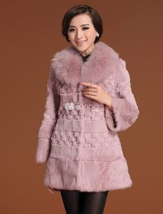 Lavender Embossing Cony Hair Fox Fur Collar Womens Fur Coat. See More Fur Coats at http://www.ourgreatshop.com/Fur-Coats-C798.aspx