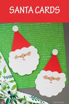 Easy handmade Santa card for kids to make. Great for kindergartners and older kids. Make a Christmas card for teachers, grandparents, bus drivers or babysitter. Christmas Card For Teacher, Christmas Card Crafts, Homemade Christmas Cards, Kids Christmas, Handmade Christmas, Diy Holiday Cards, Printable Christmas Cards, Funny Christmas Cards, Vintage Christmas Cards