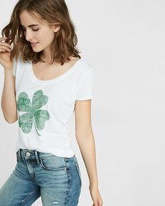 Love this -- express one eleven shamrock hi-lo graphic tee