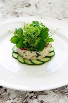 Crab Tian, Cucumber and Wasabi, Avocado Puree - Temptation For Food