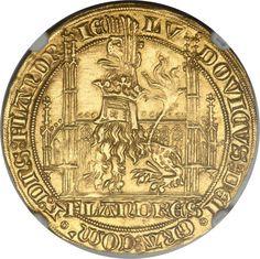 Belgium: Flanders. Louis II de Mâle (1346-84) gold Lion heaumé d'or1365-70 MS62 NGC #coins