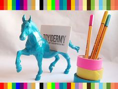 Custom Color Horse Toy Animal Business Card Holder // Unique, personalized gift idea. $20.00, via Etsy.
