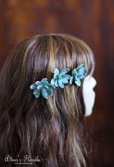 Succulent Hair Pins Succulent Wedding Hair Pins by AinursFlorals
